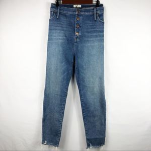 MADEWELL High Rise Skinny Jeans Button Front NWT